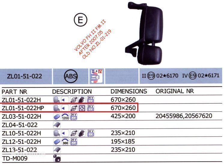 20567637,20567647 oglindă pentru VOLVO FH camion nou